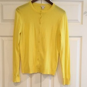 J. CREW Caryn Yellow Cardigan Sweater M